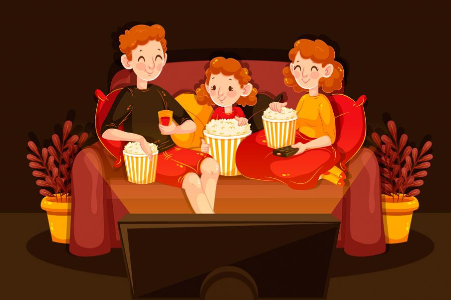 familie sidder med popcorn og ser film